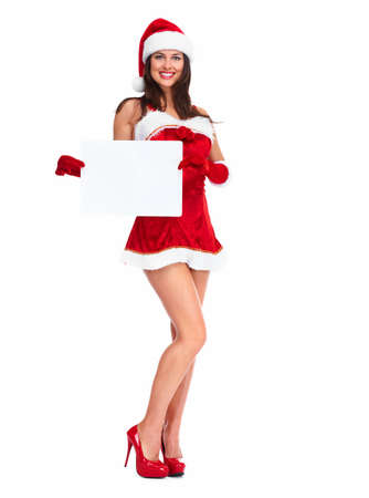 Santa helper Christmas girl with a banner