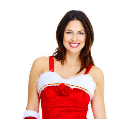 Santa helper Christmas girl with a presents  photo