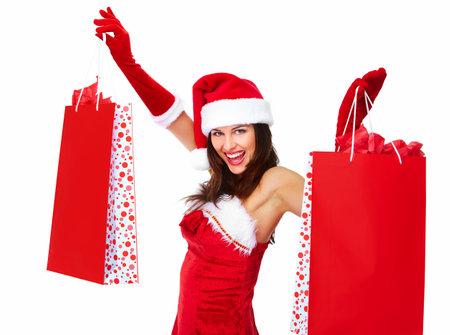 Christmas santa Shopping woman  Stock Photo - 16606443