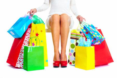 shopaholics: Beautiful Christmas Shopping woman  Stock Photo