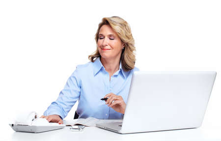 Business woman with a laptop computer Stock Photo - 16606314