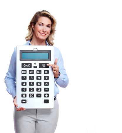bookkeeper: Contador mujer de negocios con una calculadora