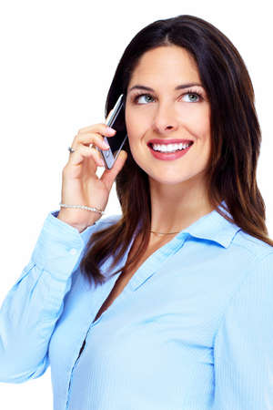 Happy business woman with cell phone  photo