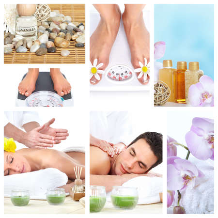 Beautiful Spa massage collage  photo