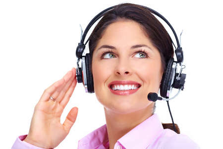 business woman phone: Call center operator woman