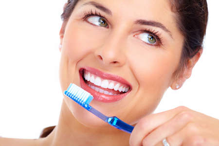 Beautiful woman smile with a toothbrush Stock Photo - 16643029