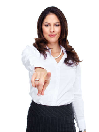 Business woman touching a copyspace Stock Photo - 16642997