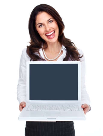Business woman with laptop computer  Stock Photo - 16642998