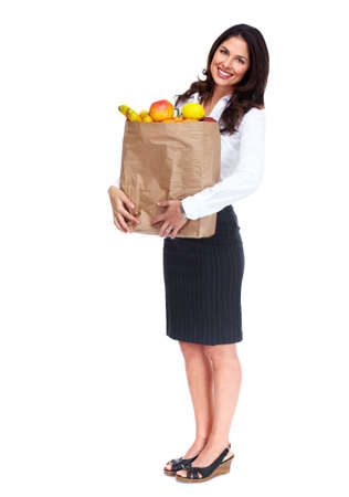 Young woman with a grocery bag Stock Photo - 16642993
