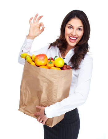 Young woman with a grocery bag Stock Photo - 16643020