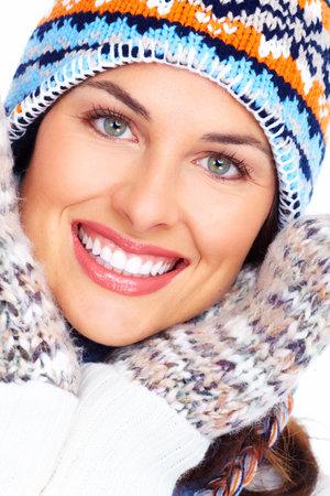 winter fashion: Beautiful christmas girl face