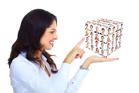 Business woman holding a cub collage  photo
