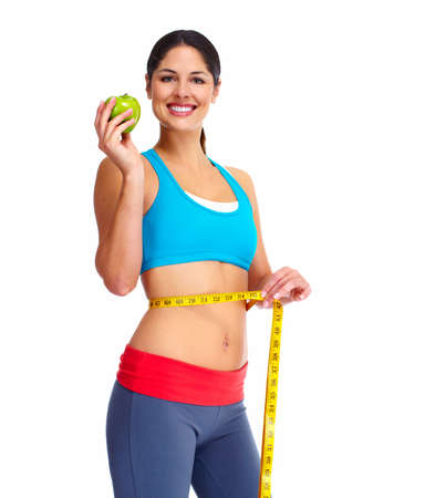 measure tape: Beautiful healthy woman