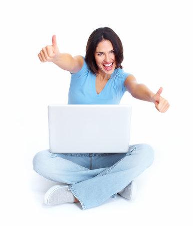 Vrouw met laptop computer Stockfoto