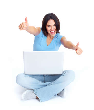 Woman with laptop computer  Stock Photo