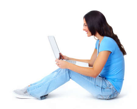 woman sitting with laptop: Woman with laptop computer  Stock Photo