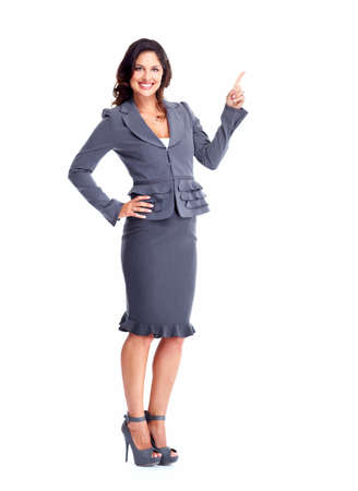 Business woman showing a copyspace  Stock Photo