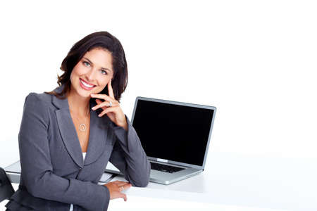 computer: Business woman with laptop computer  Stock Photo