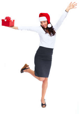 Santa helper christmas girl with  gift isolated on white background. Stock Photo - 18892570