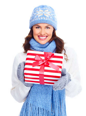 Beautiful christmas girl with gifts isolated on white background. Stock Photo - 16959022