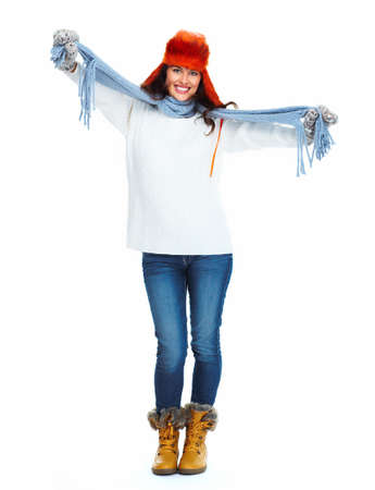 Beautiful girl with mittens and hat isolated on white background. Stock Photo - 18892660