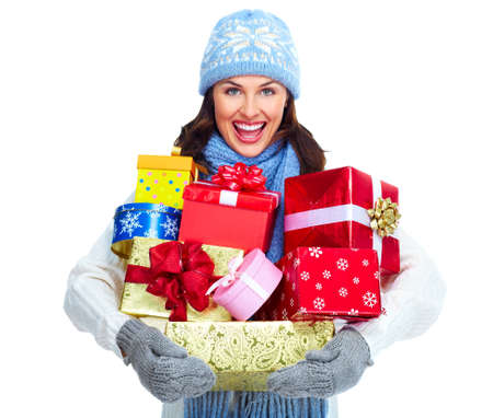 Beautiful christmas girl with gifts isolated on white background. Stock Photo - 16960066