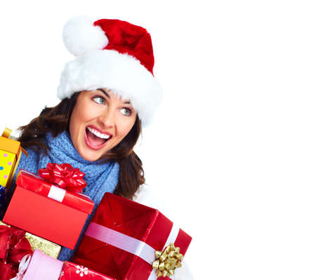 Beautiful Santa helper christmas girl with  gifts isolated on white background. Stock Photo - 16960090