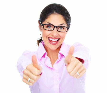 gente celebrando: Retrato de la mujer feliz empresa joven aislado sobre fondo blanco