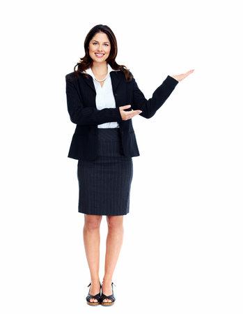 invitando: Mujer de negocios que presenta una copyspace. Aislado sobre fondo blanco.