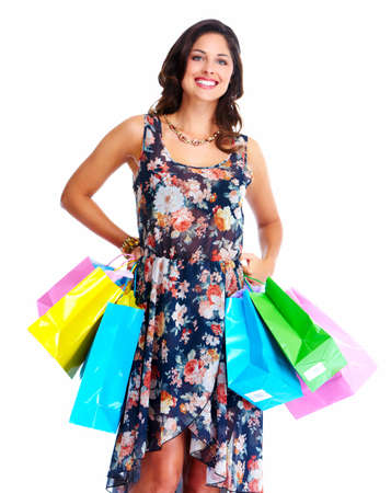 Beautiful woman with a shopping bag. Isolated on white. Stock Photo - 16959001