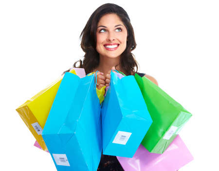 Beautiful woman with a shopping bag. Isolated on white. Stock Photo - 16958984