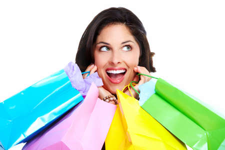 Beautiful woman with a shopping bag. Isolated on white. Stock Photo - 16960056