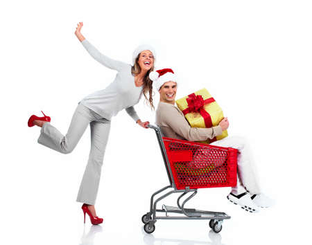 Happy young Christmas couple with  gifts isolated on white background. Stock Photo - 16959332