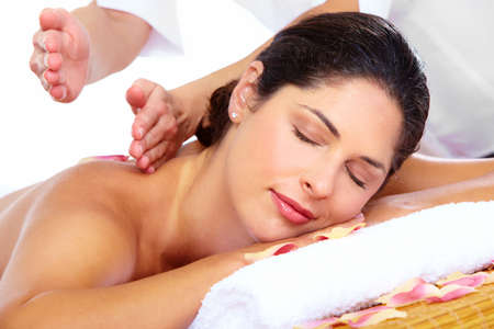 Young beautiful woman getting massage in spa salon. Stock Photo - 16958954