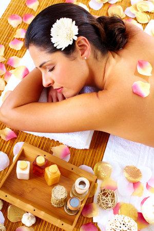 Young beautiful woman getting massage in spa salon. Stock Photo - 16958963