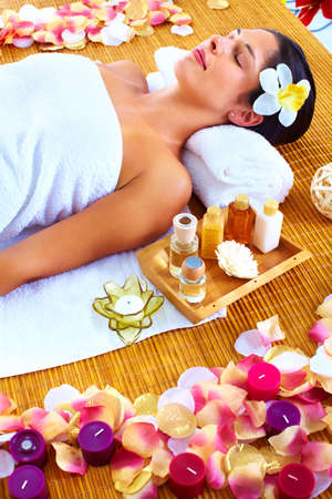 Young beautiful woman getting massage in spa salon. Stock Photo - 16959027