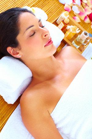 Young beautiful woman getting massage in spa salon. Stock Photo - 16959023