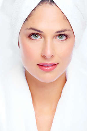 Face of beautiful woman. Spa massage concept background. Stock Photo - 16959005