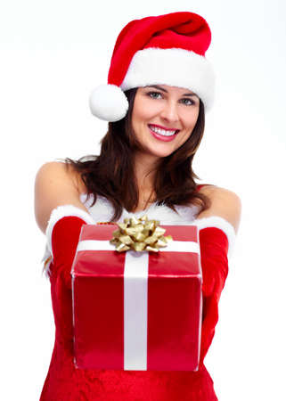 Beautiful Santa helper christmas girl with gift isolated on white background. Stock Photo - 16958998