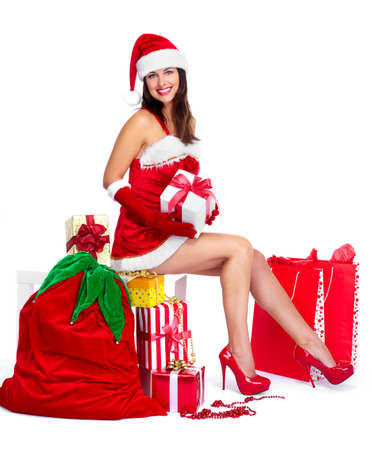 Beautiful Santa helper christmas girl with  gifts isolated on white background. Stock Photo - 16959906