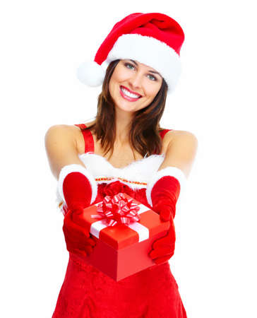 Beautiful Santa helper christmas girl with gift isolated on white background. Stock Photo - 16960082