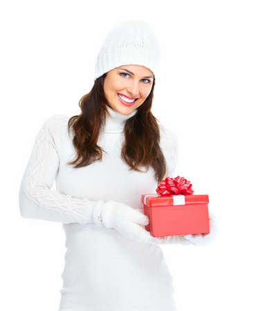 Beautiful young Christmas girl with a present isolated on white background. Stock Photo - 16959012
