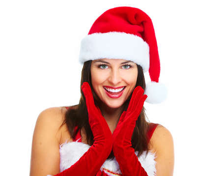 Beautiful Santa helper christmas girl isolated on white background. Stock Photo - 16958994