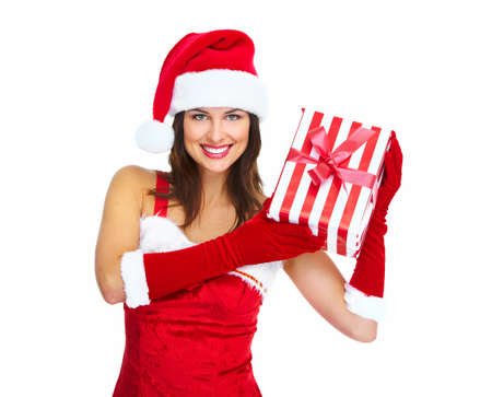 Beautiful Santa helper christmas girl with gift isolated on white background. Stock Photo - 16958986