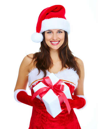 Beautiful Santa helper christmas girl with gift isolated on white background. Stock Photo - 16959006