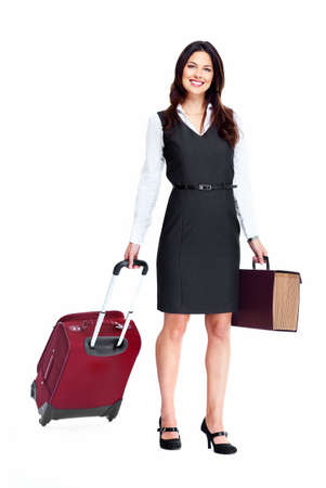 Business woman with a suitcase isolated on white background Stock Photo - 16958981