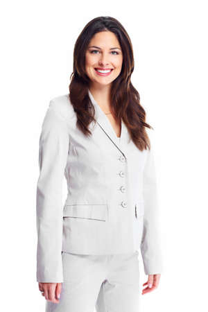 Portrait of happy young business woman isolated on white background Stock Photo - 16958997