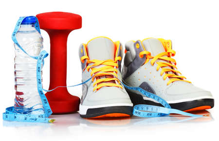 New sneakers isolated on white background. Sport and fitness. photo