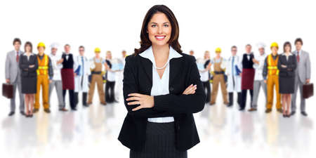 group  accountant: Business woman and group of workers people  Stock Photo