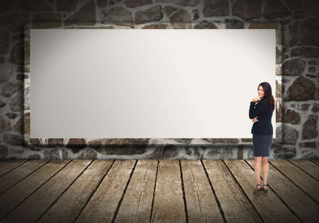 Business woman near billboard  Stock Photo - 17244984
